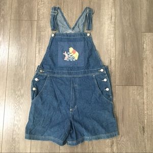 90's Winnie the Pooh Jean short overalls M